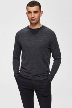 selected homme trui met v-hals »tower new merino v-neck« grijs