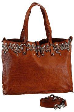 campomaggi shopper studs leather bag van hoogwaardig leer bezet met studs bruin