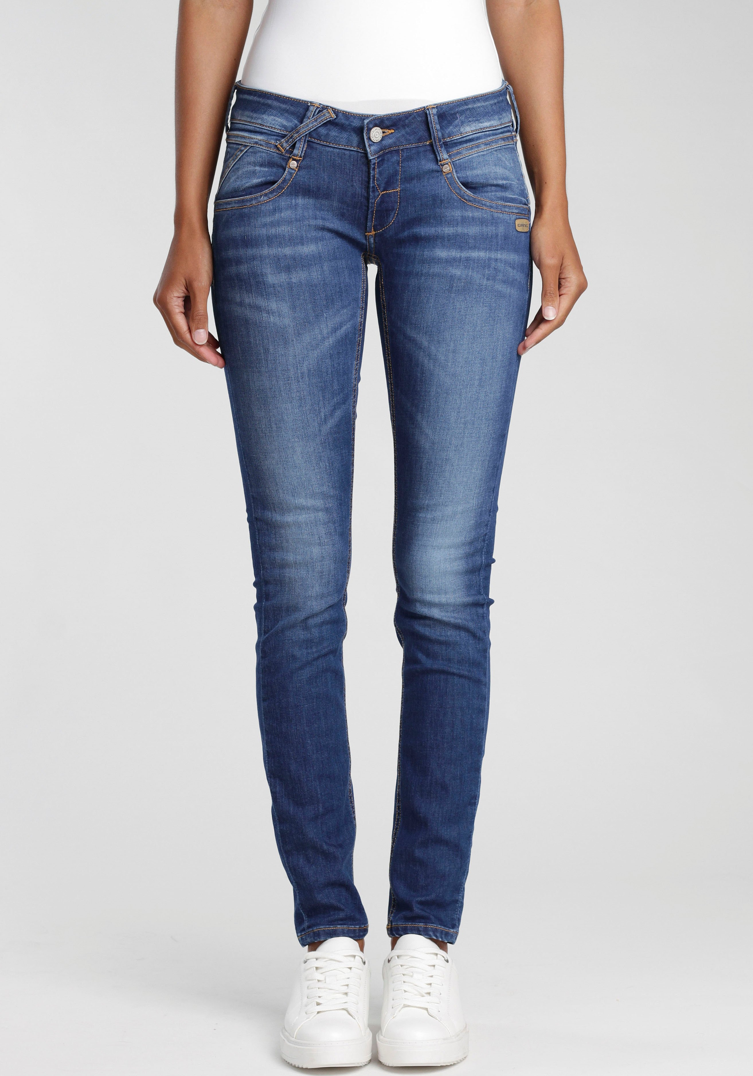 GANG skinny fit jeans Nena met coole used-effecten - gratis ruilen op otto.nl
