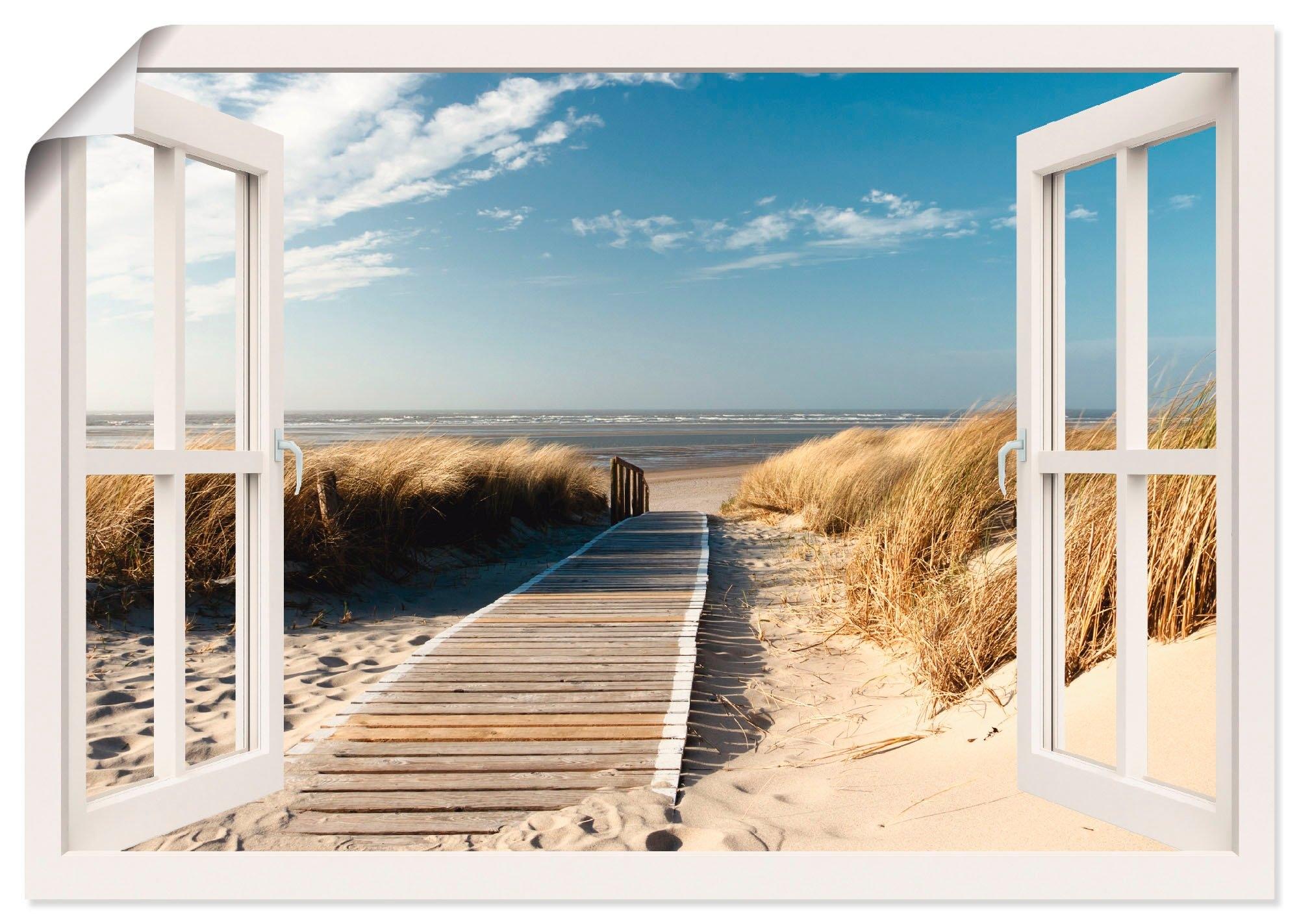 Artland artprint Blik uit het venster Noordzeestrand op Langeoog in vele afmetingen & productsoorten -artprint op linnen, poster, muursticker / wandfolie ook geschikt voor de badkamer (1 stuk) goedkoop op otto.nl kopen
