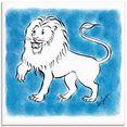 artland print op glas serie sterrenbeeld leeuw (1 stuk) blauw