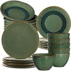 leonardo combi-servies matera rustieke uitstraling (set, 24 delig) groen