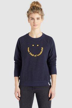 khujo sweatshirt silicia smile sweatshirt met ronde hals en coole frontprint blauw