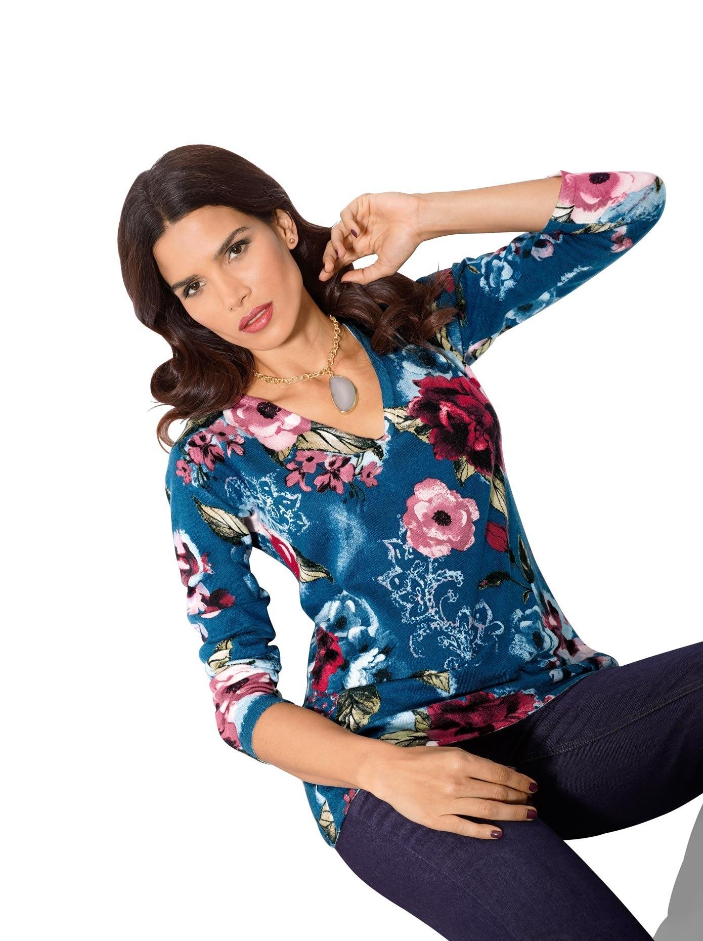 ASHLEY BROOKE by Heine Trui met V-hals Gedessineerde trui nu online kopen bij OTTO