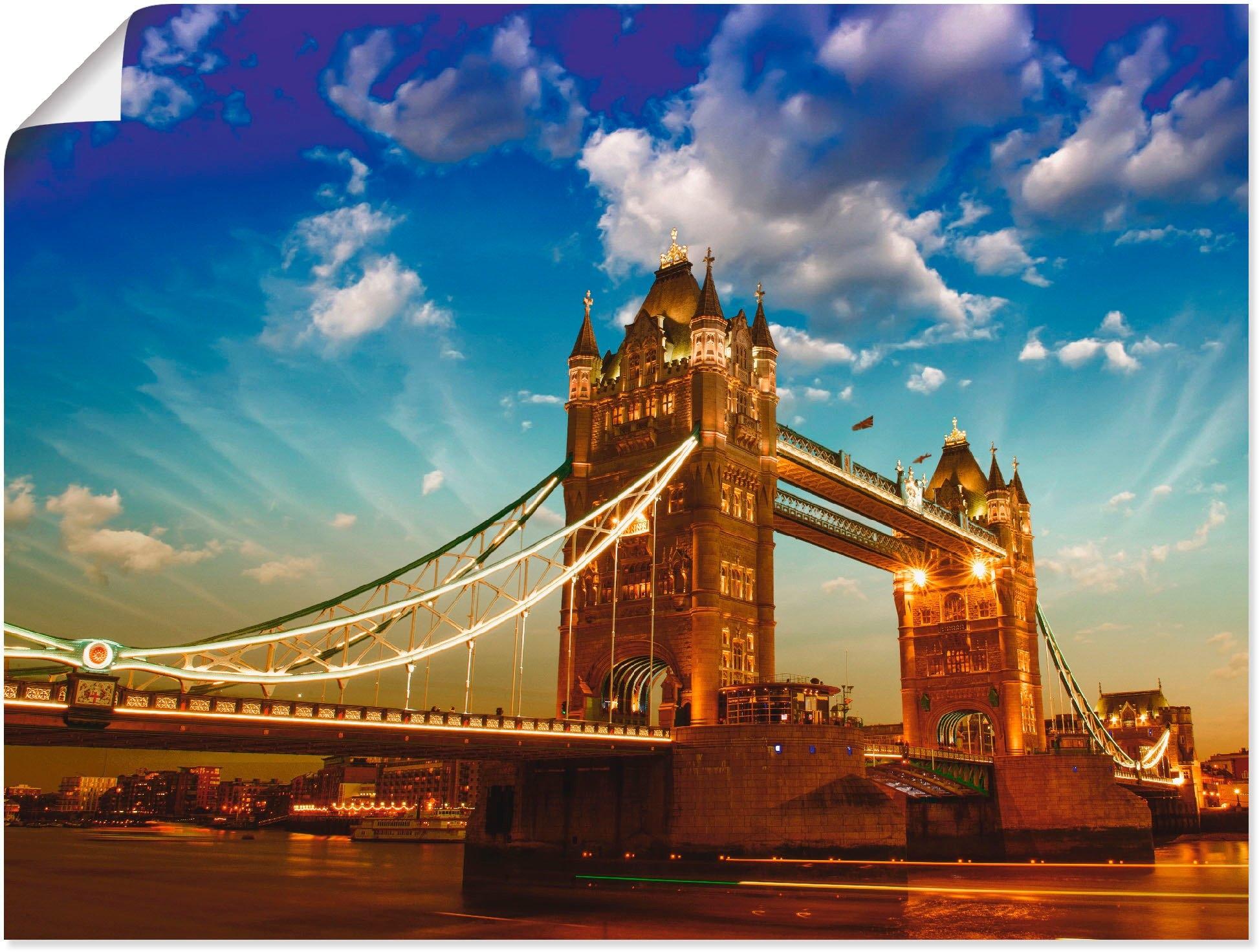 Artland artprint Tower Bridge in vele afmetingen & productsoorten - artprint van aluminium / artprint voor buiten, artprint op linnen, poster, muursticker / wandfolie ook geschikt voor de badkamer (1 stuk) in de webshop van OTTO kopen