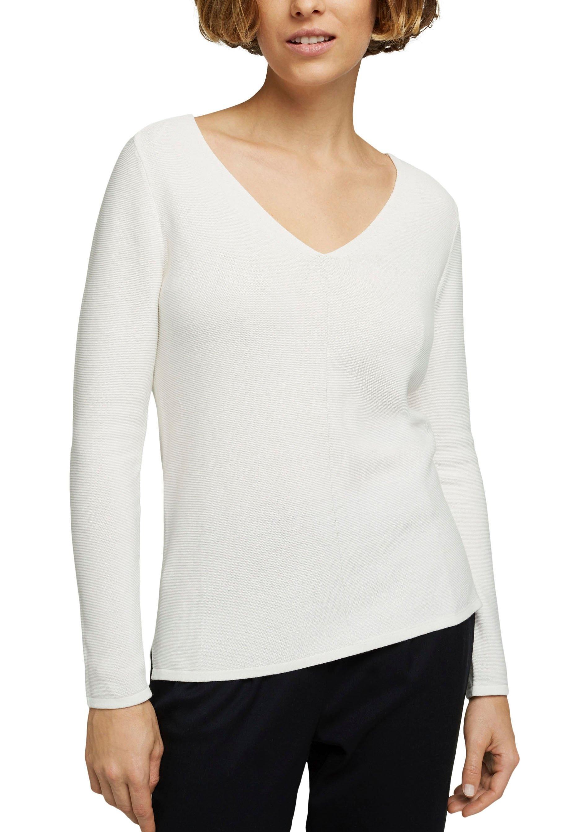 Esprit Gebreide trui in model dat voor kort en achter lang is, met zijsplitjes nu online kopen bij OTTO