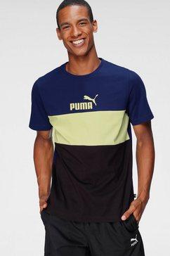 puma t-shirt »ess+ colorblock tee« blauw