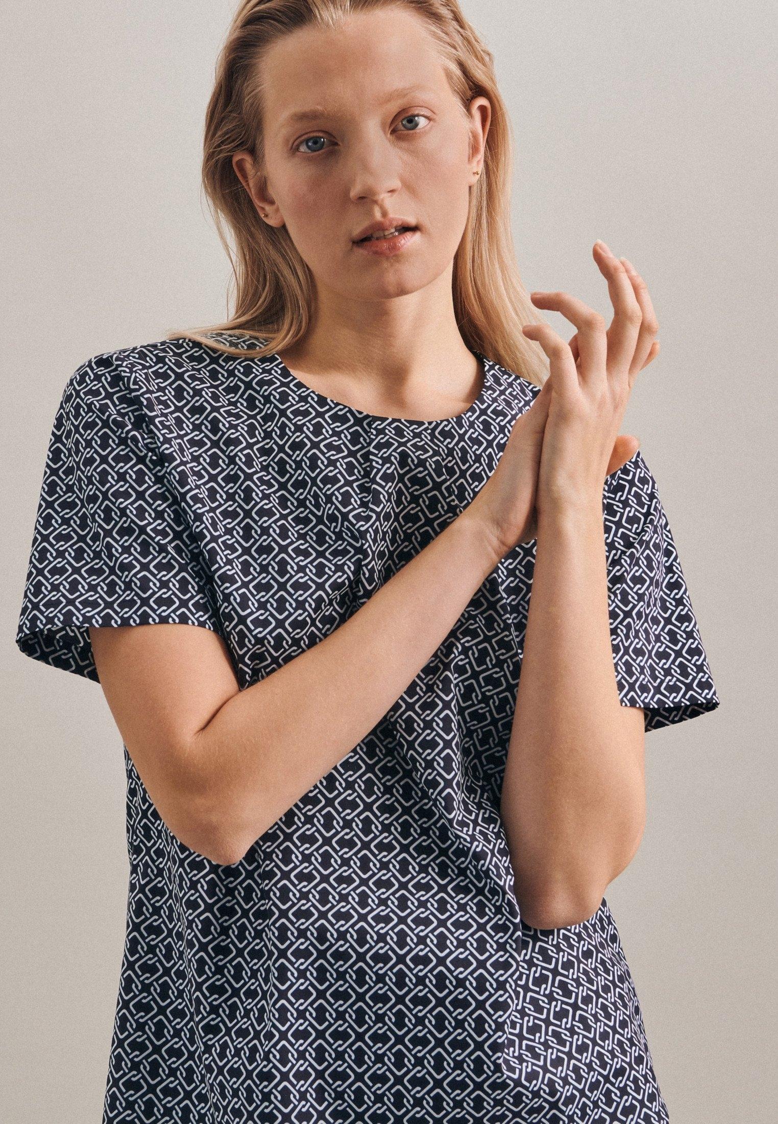 seidensticker Shirtblouse Zwarte roos Korte mouwen ronde hals print nu online kopen bij OTTO