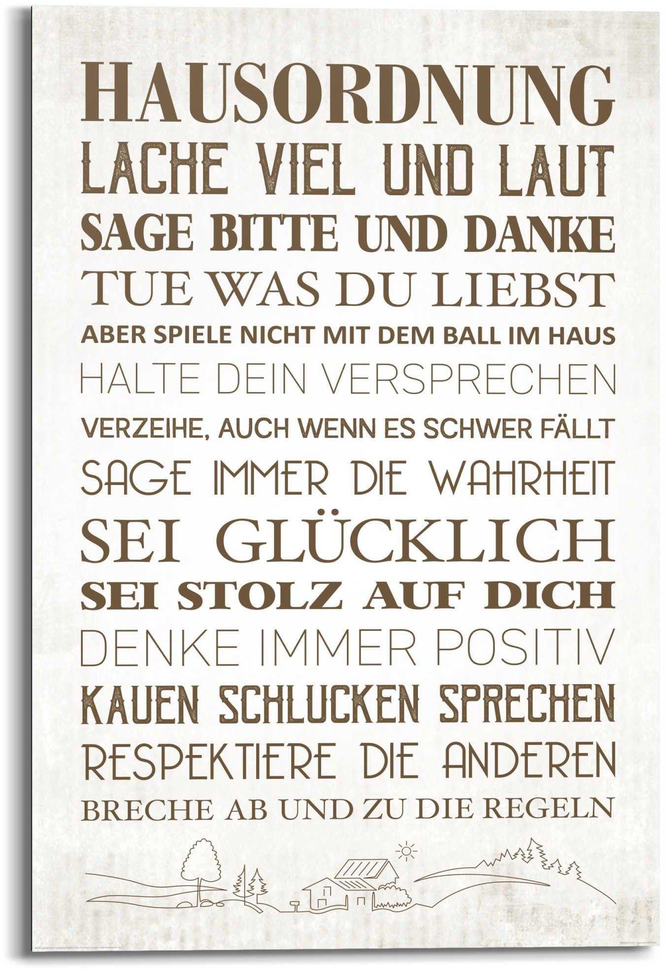 Reinders! artprint Wandbild Hausordnung Familien - Zuhause - Glück - Positiv (1 stuk) nu online bestellen