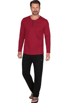 trigema pyjama met knooplijst van biokatoen rood
