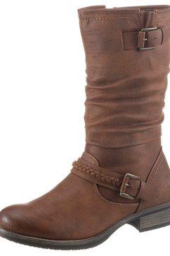 rieker laarzen met gerimpelde schacht bruin