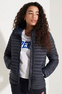 superdry gewatteerde jas met capuchon en elastische boord blauw