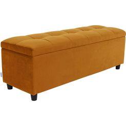 couch ♥ slaapkamerbankje doorgestikt met bergruimte, ook als garderobebank geschikt, bank geel