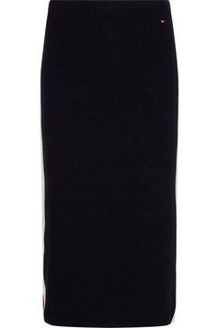 tommy hilfiger gebreide rok global stripe fitted midi skirt met de kenmerkende tommy strepen aan de zijnaad blauw