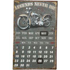 ambiente haus metalen bordje metalen artprint kalender - biker 25x40cm (1 stuk) multicolor