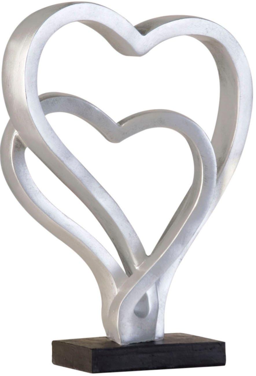 GILDE deco-object Sculptuur Hearts, oud-zilverkleurig Hoogte 30 cm, hartmodel, antiek-finish, woonkamer (1 stuk) bestellen: 30 dagen bedenktijd