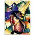 artland print op glas twee paarden rood en blauw. 1912 (1 stuk) multicolor