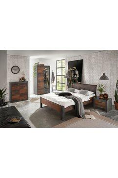 home affaire slaapkamerserie »brooklyn« (set, eenpersoonsbed met gestoffeerd hoofdeinde, nachtkastje, kleerkast 2 deuren, ladekast) grijs