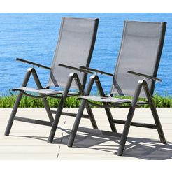 merxx tuinstoel amalfi set van 2, aluminium-gecoate textiel, verstelbaar (set, 2 stuks) bruin