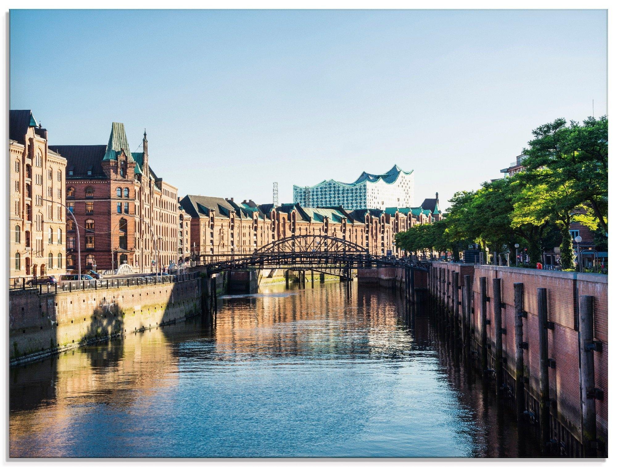 Artland print op glas Hamburg Speicherstadt (1 stuk) voordelig en veilig online kopen