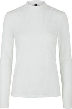 pieces shirt met staande kraag wit