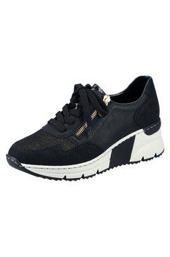 rieker sneakers met sleehak in de materiaalmix zwart