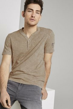 tom tailor t-shirt »henley-t-shirt im washed-look« bruin