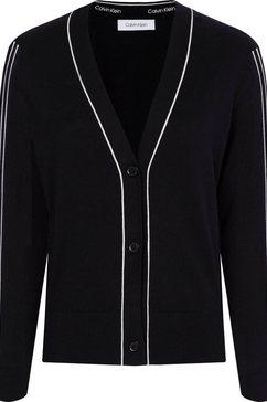 calvin klein vest cotton silk cardigan met contrastkleurige paspels zwart