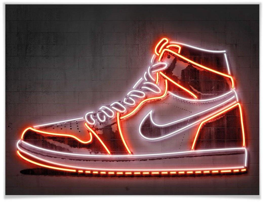 Wall-Art poster Mielu Nike schoenen neon sneakers Poster, artprint, wandposter (1 stuk) bij OTTO online kopen