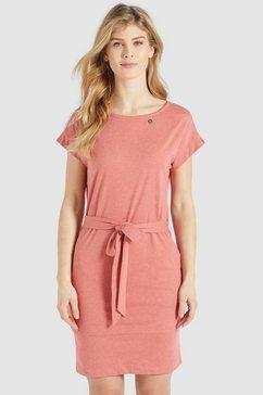 khujo jerseyjurk ramona shirtjurk met bijpassende bindceintuur in de taille roze