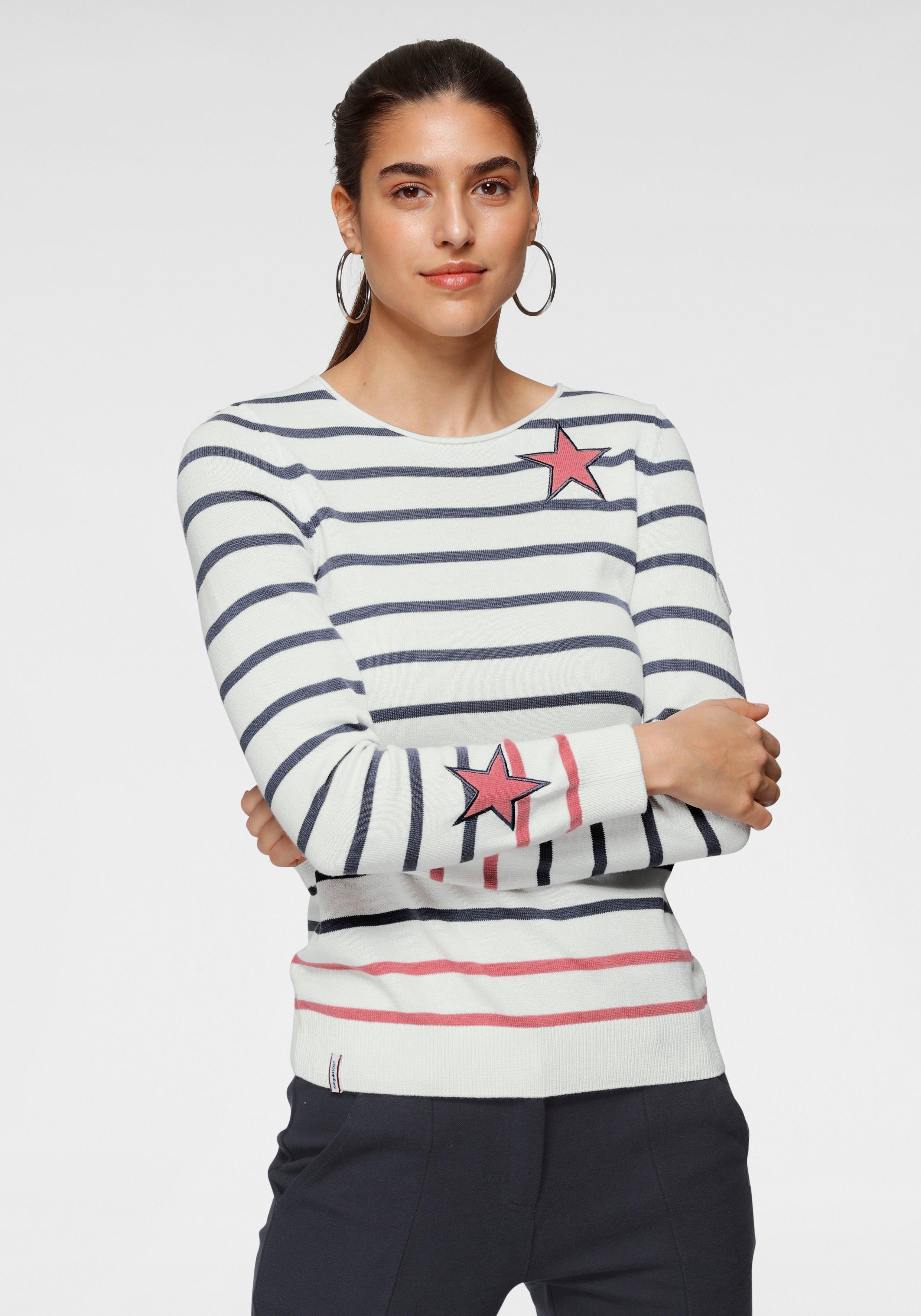 KangaROOS Gestreepte trui met contrastkleurige, opgestikte sterretjes in de webshop van OTTO kopen