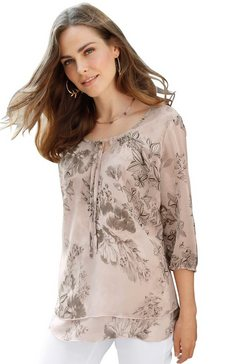classic basics gedessineerde blouse bruin