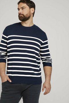 tom tailor men plus gebreide trui »gestreiftes sweatshirt« blauw