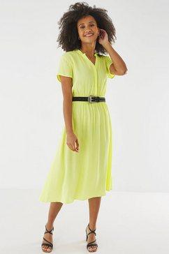 mexx midi-jurk in midilengte met een opstaande kraag geel
