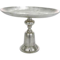 gilde decoratieve schaal schaal cansino van metaal, rond, met voet, woonkamer (1 stuk) zilver