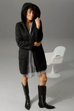 aniston casual korte jas met een capuchon zwart