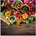 artland print op glas italiaans mediterraan eten (1 stuk) multicolor
