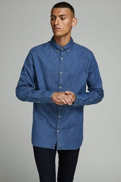 jack  jones jeansoverhemd »leon stretch denim shirt« blauw