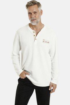 jan vanderstorm shirt met lange mouwen ivor katoenen shirt, wafelstructuur wit