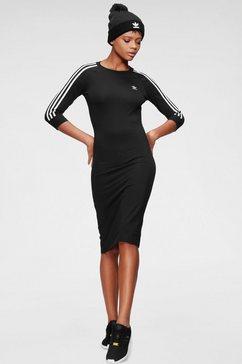 adidas originals midi-jurk 3 stripes dress zwart
