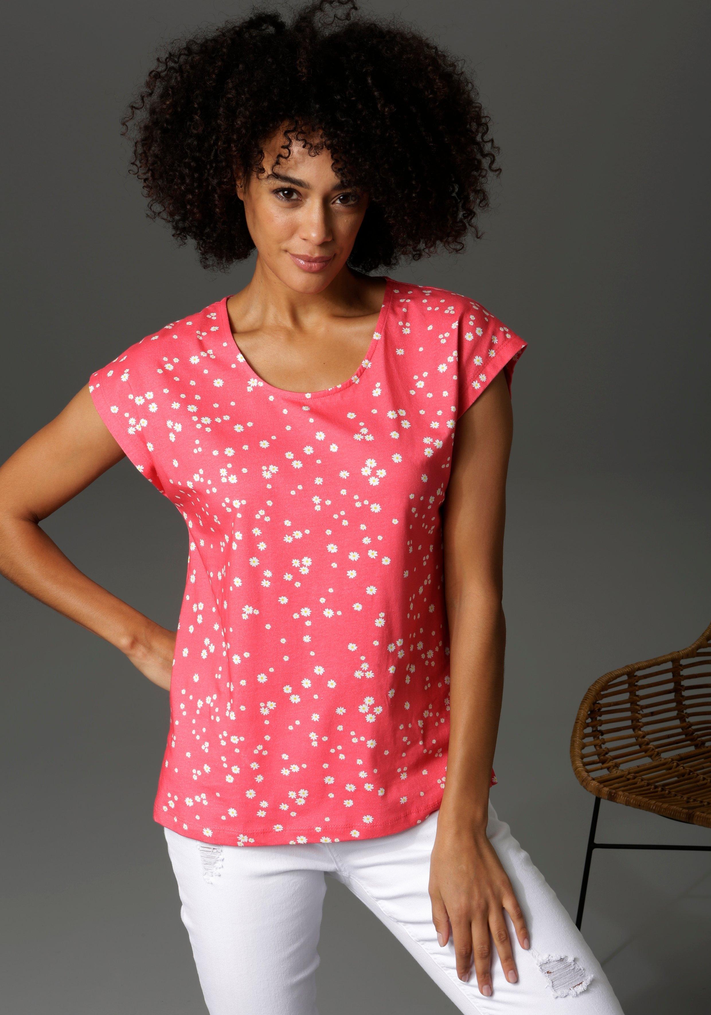 Aniston CASUAL T-shirt met margrieten gedessineerd - verschillende betaalmethodes