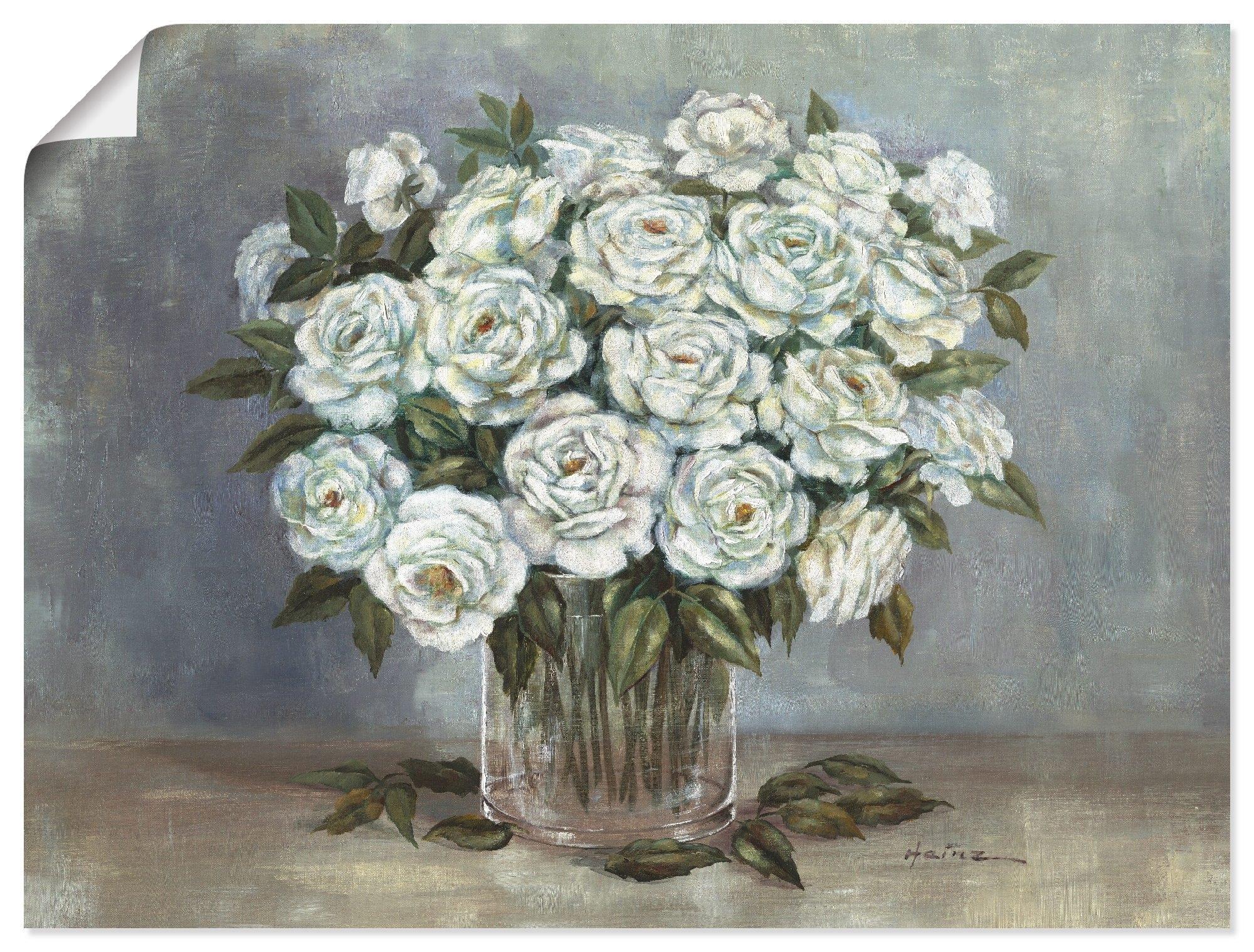 Artland Artprint Witte rozen in vele afmetingen & productsoorten - artprint van aluminium / artprint voor buiten, artprint op linnen, poster, muursticker / wandfolie ook geschikt voor de badkamer (1 stuk) nu online bestellen