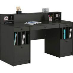 "places of style bureau licia bureau ""licia"", groot werkblad met veel legruimte grijs"