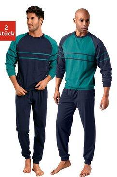 le jogger pyjama in een lang model met opgestikte strepen (set van 2) groen