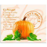 artland keukenwand gelber kuerbis mit gruenen blaettern (1-delig) oranje