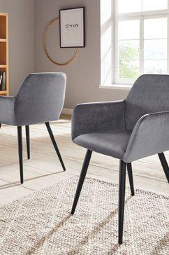inosign stoel met armleuningen live bekleding in fluweel, zwart metalen frame (set, 2 stuks) grijs