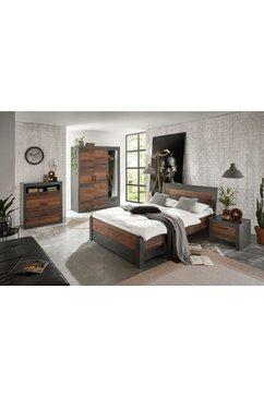 home affaire slaapkamerserie »brooklyn« (set, eenpersoonsbed met houten hoofdeinde, bedlade, nachtkastje, kleerkast 3 deuren, dressoir) grijs