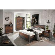 home affaire slaapkamerserie »brooklyn« (set, eenpersoonsbed met houten hoofdeinde, bedlade, nachtkastje, kleerkast 3 deuren, dressoir)