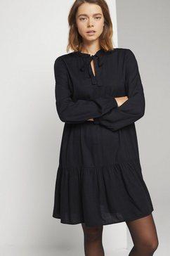 tom tailor denim babydolljurk »mini babydoll kleid mit schleife« zwart
