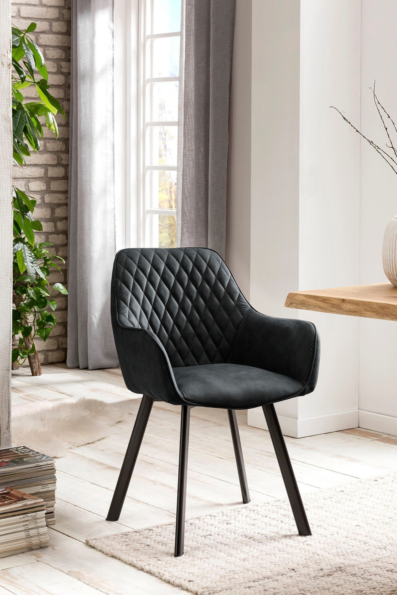 SalesFever stoel met armleuningen Rugleuning met ruitstiksel (set, 2 stuks) nu online kopen bij OTTO